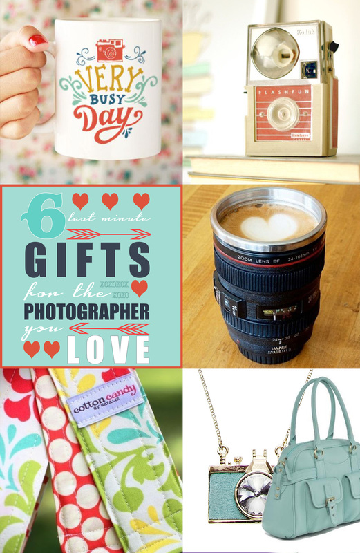 6 ideas for the photographer you love.  Cute mug, vintage camera, custom camera strap, cameral lens mug, jo totes camera bag.