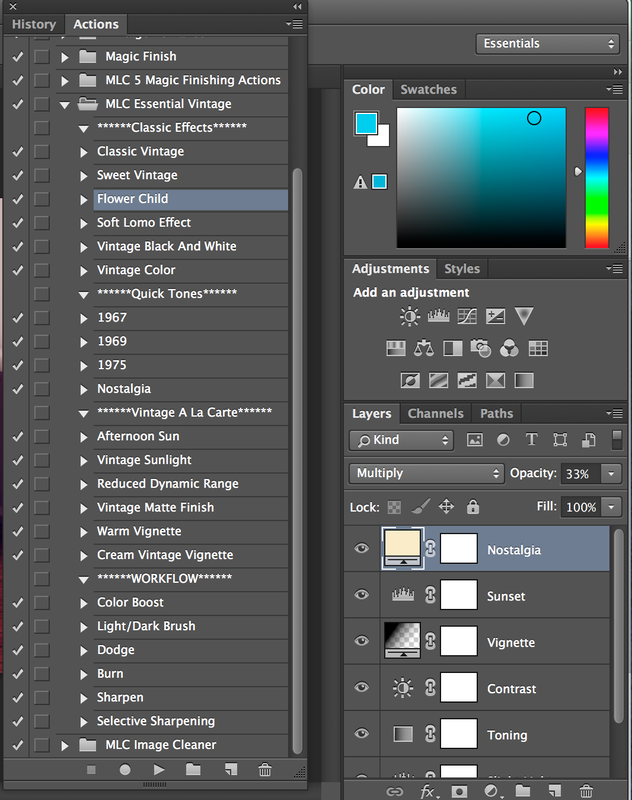 Actions Panel in Adobe Photoshop