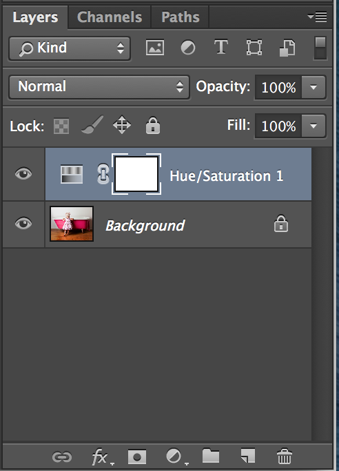 How to add a hue / saturation layer in Adobe Photoshop