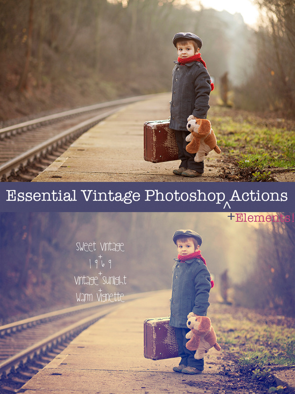 Get started with the Essential Vintage Action Set for Adobe Photoshop and Elements. All of the nostalgic vintage film effects you need!