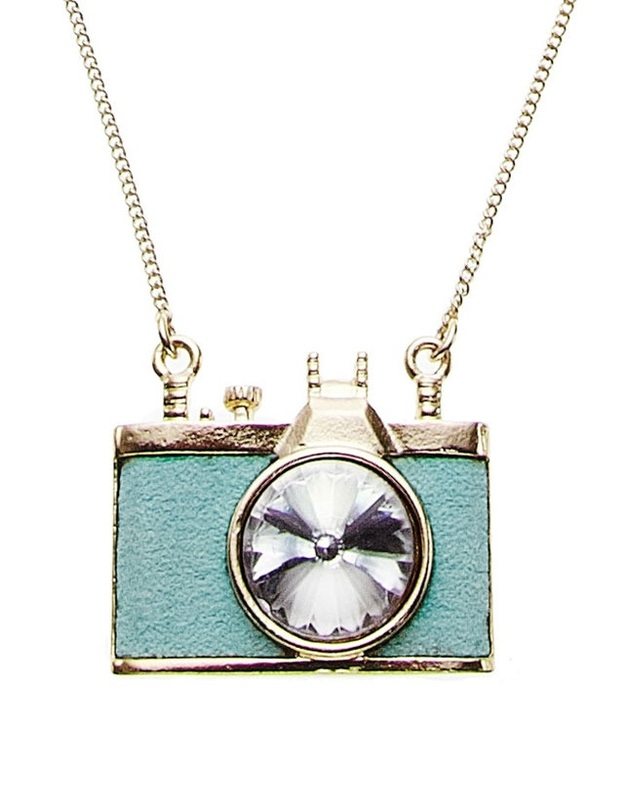 Teal Camera Pendant Necklace with rhinestone