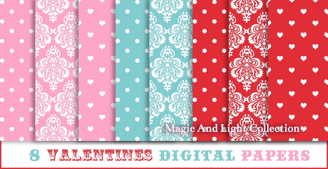 8 Valentines Day Digital Papers