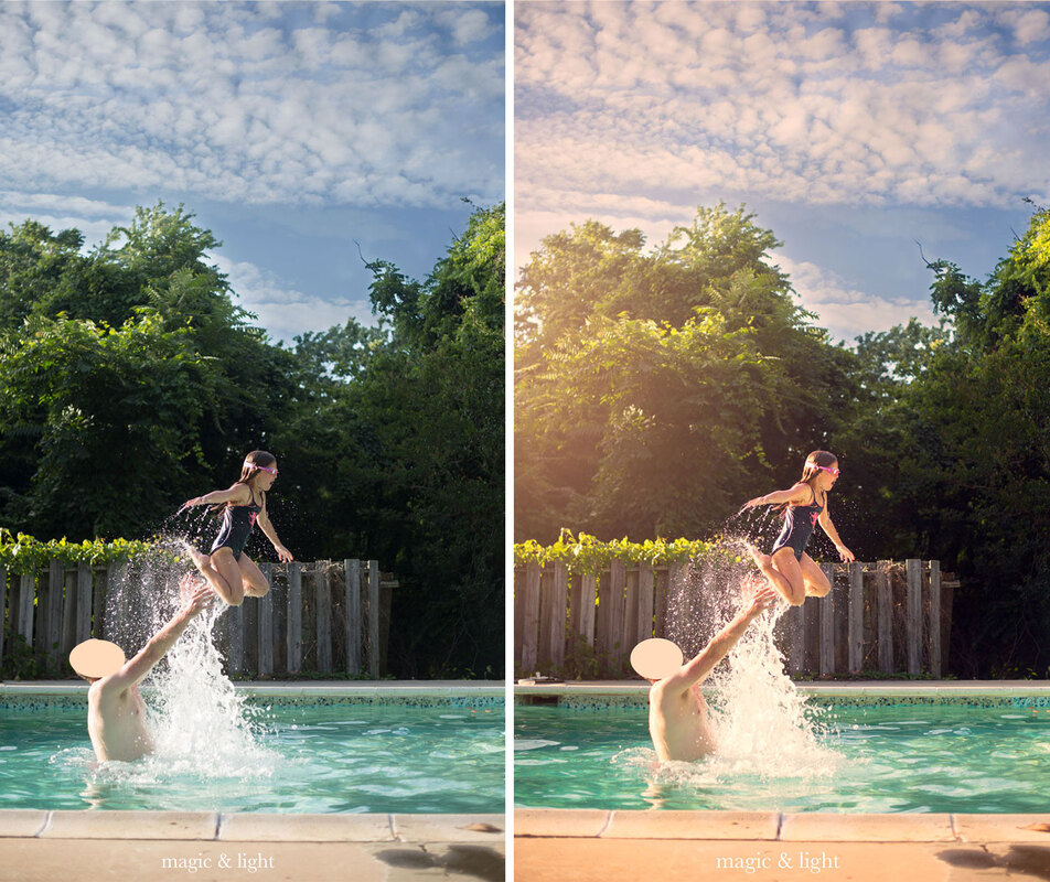 Before and After using Photo Refresh Free Photoshop Action from Magic and Light Collection